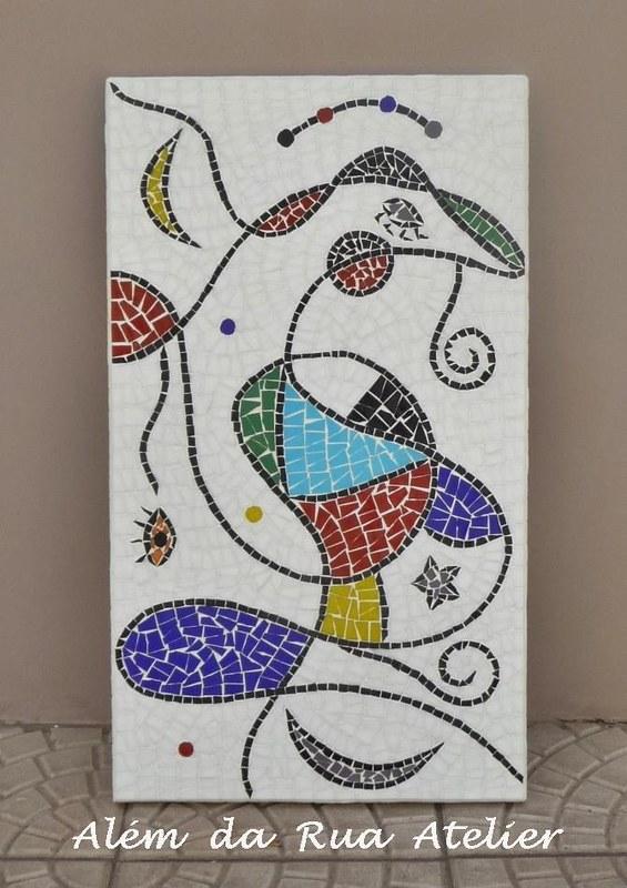 Quadro de mosaico colorido, inspirado em Miró