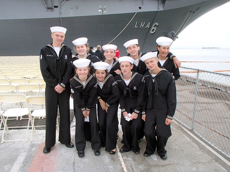 Petaluma Sea Scouts Awaiting the Commissioning Ceremony of the USS AMERICA (LHA-6)