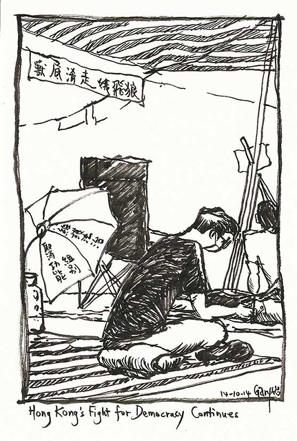 Umbrella Revolution: A Protestor Resting