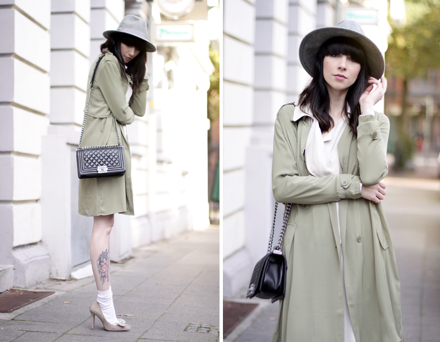 Fashionpills green trench autumn fall styling grey hat chanel le boy socks in pumps styling ootd outfit fashionblogger blogging cats & dogs ricarda schernus 6