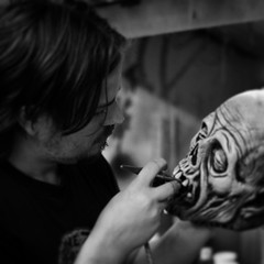 The man himself, @mabry_monsters, at work in his studio. #zombie #mask #halloween #ToTS #JustinMabry