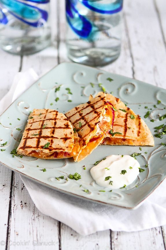 Light Buffalo Chicken Quesadillas Recipe | cookincanuck.com