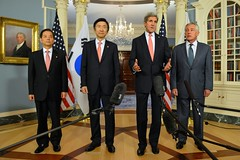 U.S. Secretary of State John Kerry, U.S. Secretary of Defense Chuck Hagel, Republic of Korea Foreign Minister Yun Byung-se, and Republic of Korea Minister of National Defense Han Min-Koo address reporters at the 2+2 Ministerial with the Republic of Korea, at the U.S. Department of State in Washington, D.C., on October 24, 2014. [State Department photo/ Public Domain]