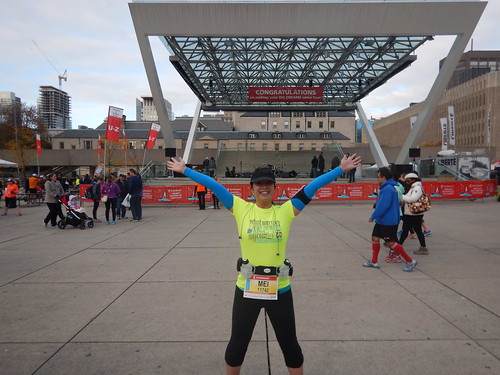 Mei at the start/finish area in Nathan Phillips Square
