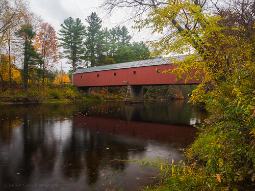 bridge autumn trees reflection fall leaves forest river landscape newengland newhampshire nh olympus coveredbridge omd em5 ashuelotriver 1250mmf3563mzuiko
