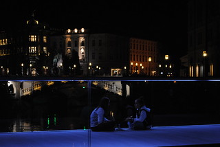 Dining on the bridge in Ljubljana