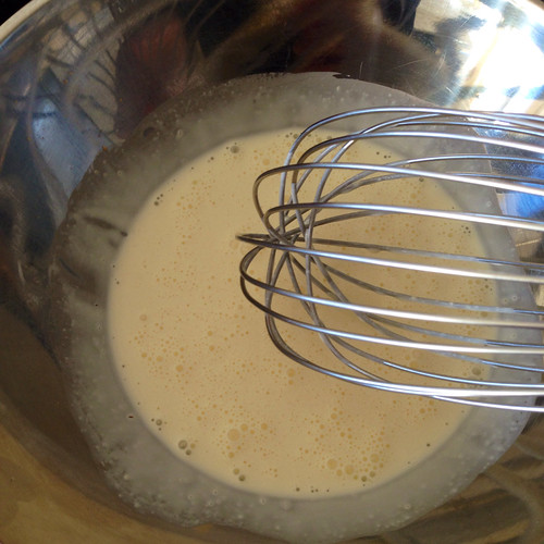 Whisking double cream into soft peaks of deliciousness. Food. Cream. Double cream.