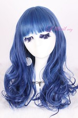 50cm long peacockblue wavy woman fashion wig ZY32B