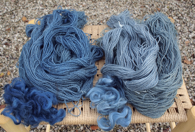 yarn dyed with indigo and woad