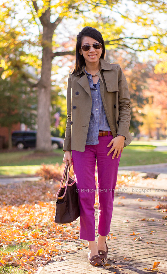 sage green swing trench jacket, chambray shirt, fuchsia pants, brown loafers