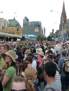 A view of the climate change protest crowd in Melbourne