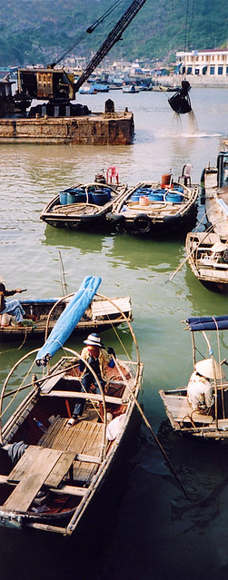 The working waterfront at the island of Cat Ba in Halong Bay, Vietnam