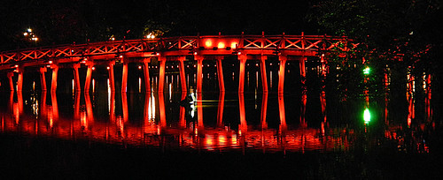 The red bridge at night in Hanoi, Vietnam