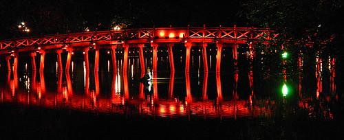 The red bridge at night in Hanoi, Vietnam