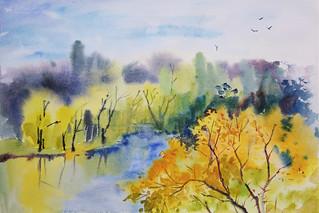 Watercolor: Autumn Landscape