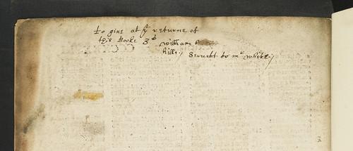 Manuscript note regarding loan of book in Biblia