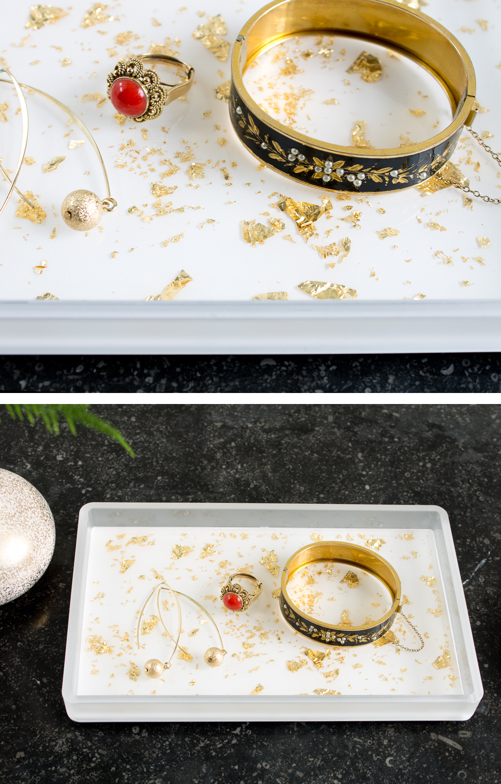 DIY Gold Flecked Tray | Full tutorial at www.vitaminihandmade.com
