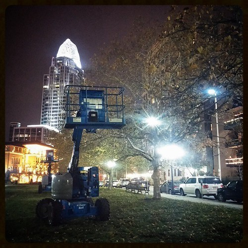 They've begun putting up the holiday lights in trees of Lytle Park in downtown Cincinnati..,