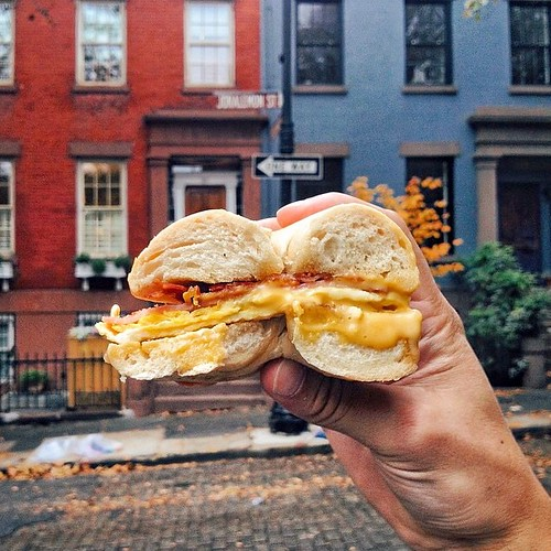 This is why we love New York in the Fall ?? @guerin_blask came prepared #Brooklyn #fallwalks #BEC #bagels #nyc #foodintheair