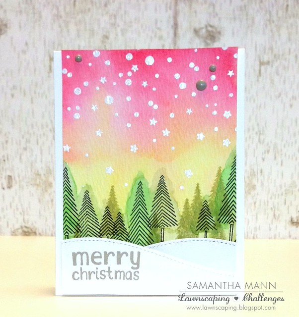 samantha mann merry christmas (watercolor night sky) card - ls, watermark
