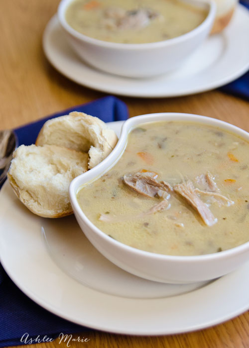 serve a huge batch of this turkey and wild rice soup to your guests after the holidays