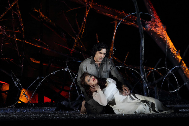 Najmiddin Mavlyanov and Maria Agresta in Il trovatore, The Royal Opera © 2016 ROH. Photograph by Catherine Ashmore