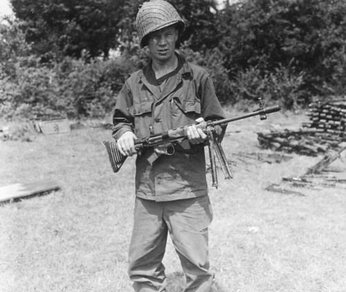 US Trooper  with  a Captured German automatic rifle FG-42E in Saint-Lô  France 1944
