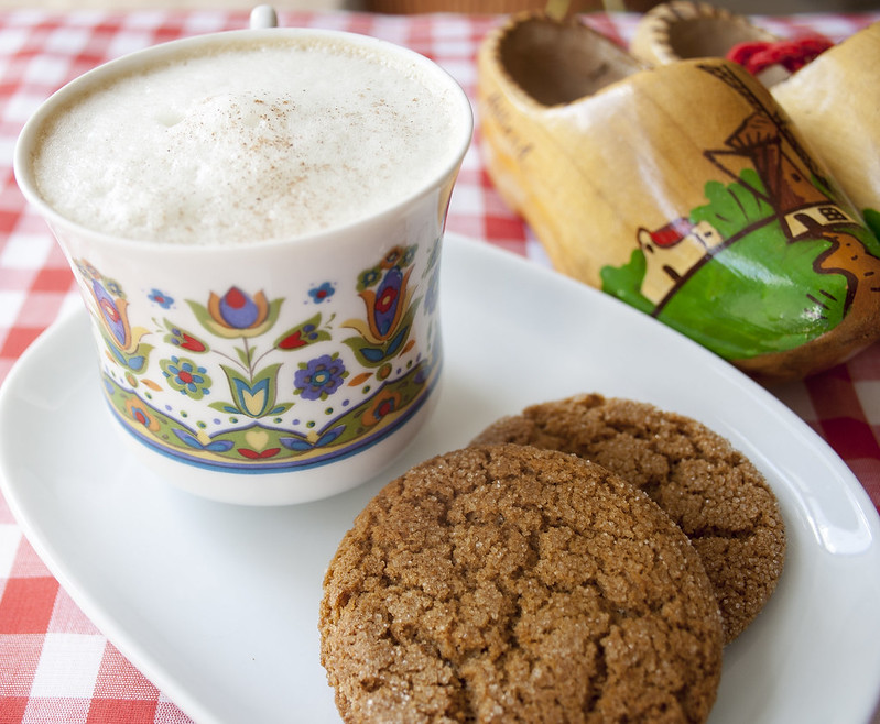 triple ginger dairy-free gingersnap cookies and cappuccino