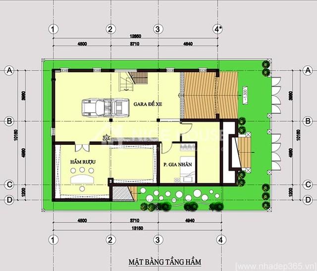 Thiết kế biệt thự 3 tầng 10x14m-tầng hầm