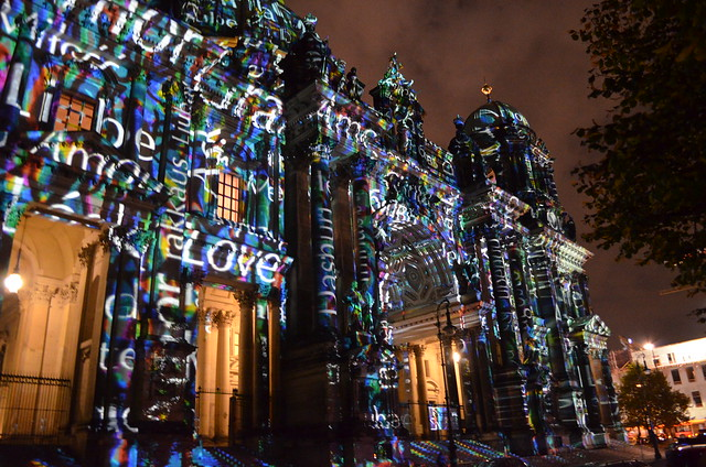 10th Berlin Festival of Lights _Berliner Dom cathedral love amore words illumination up-close