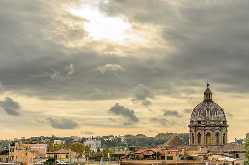 sunset sky italy rome roma church clouds landscape cityscape