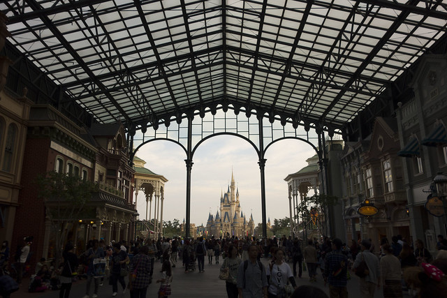 Tokyo Disneyland - Cinderella Castle as seen from World Bazaar