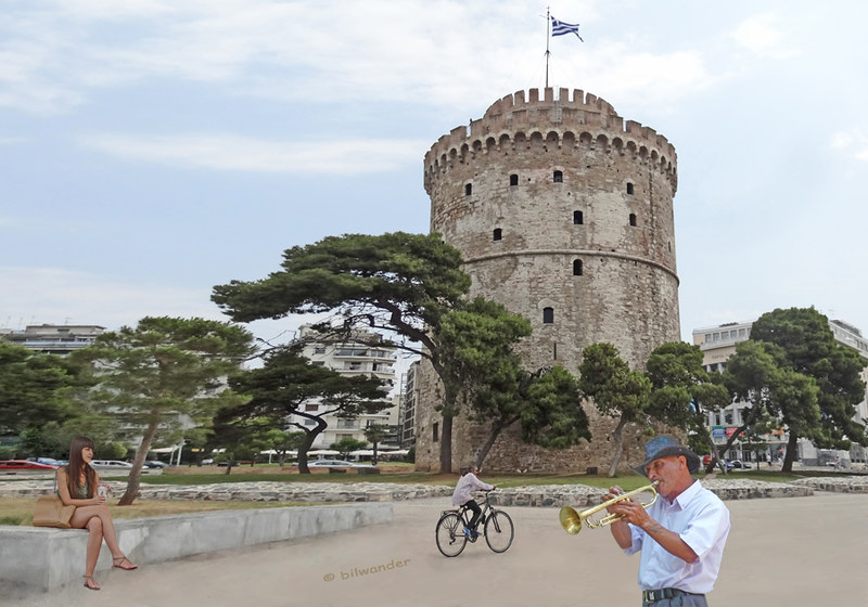 Macedonia, Thessaloniki, wandering trumpetist, sitting girl and cyclist at White Tower #Μacedonia