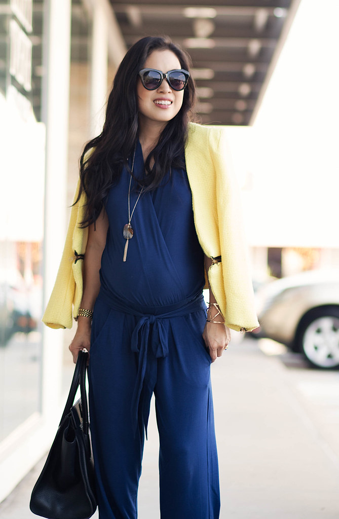 cute & little blog | petite fashion | maternity baby bump pregnant | les lunes navy v-neck jumpsuit, long pendant necklace, shoemint josie | second trimester 26 weeks