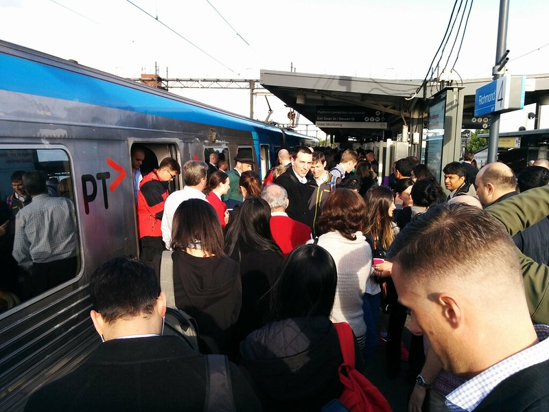 Passengers alighting faulty train