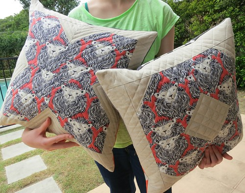 XO cushions in Cotton + Steel lions and Essex linen
