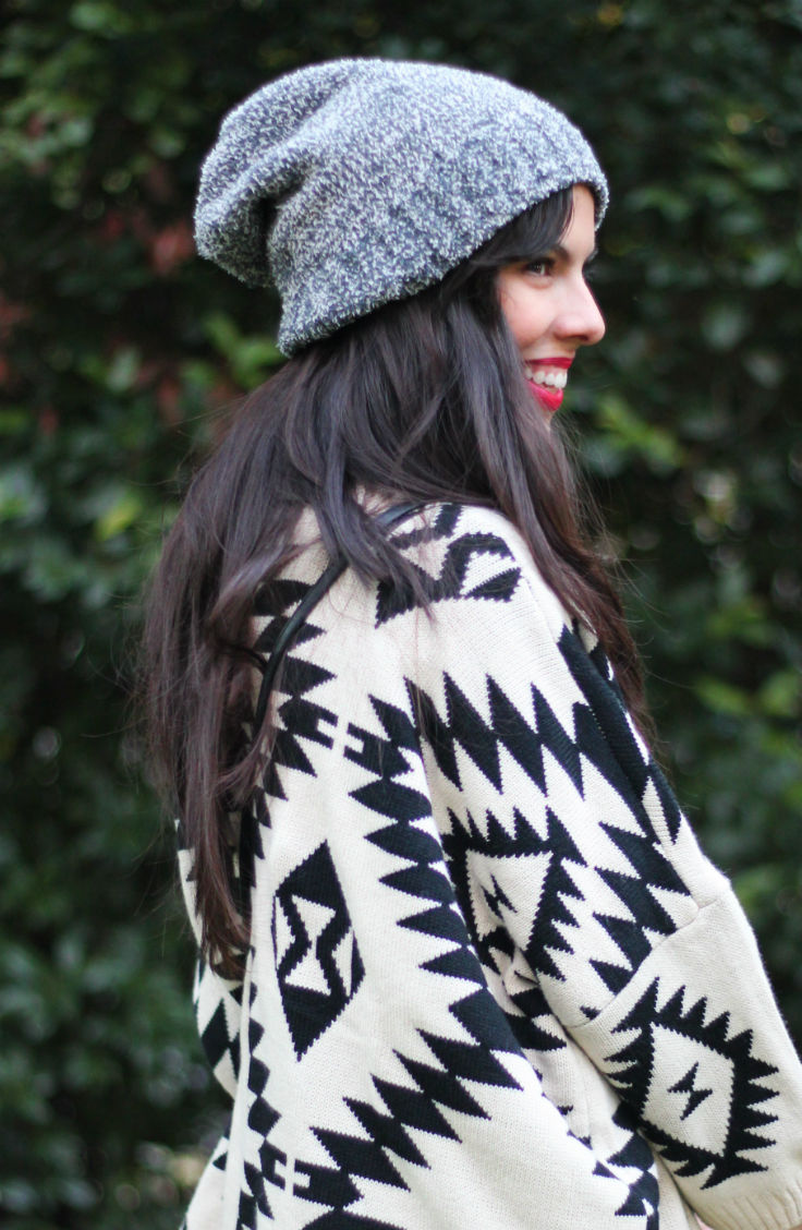 casual fall outfit, tribal print cardigan, slouchy beanie, brown booties