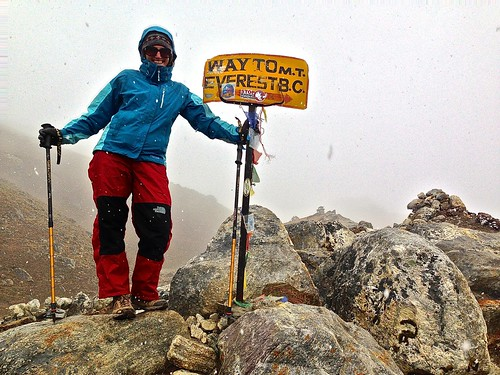 This is really one of the only Everest Base Camp signs we've seen. Took it in a snow storm