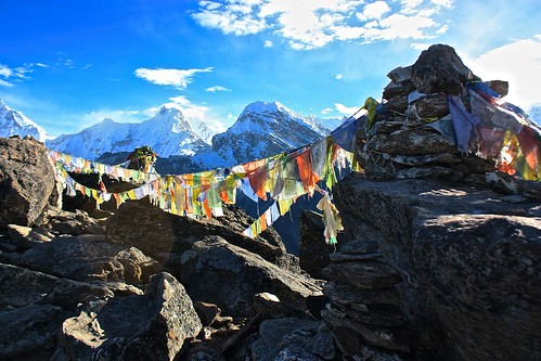 The top of Gokyo Ri, decorated with prayer flags