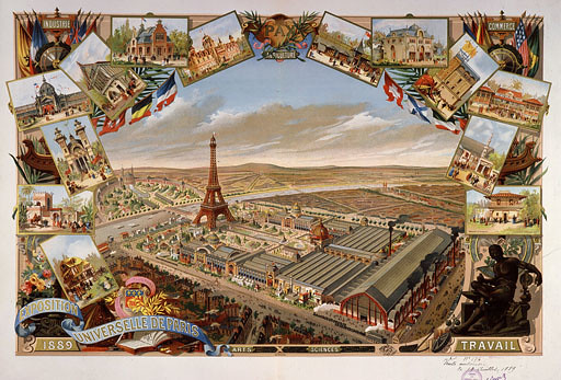 General view of the Exposition Universelle with Eiffel Tower