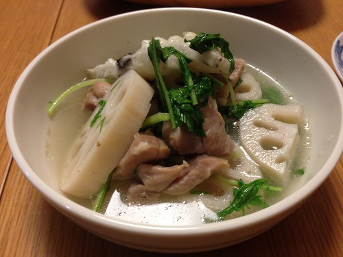 れんこんと塩豚のスープ煮