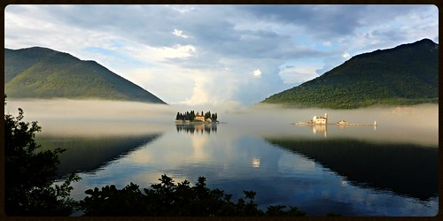 mist lake misty clouds reflections islands bay landscapes lakes churches lakeside inlet balkans naturalbeauty adriatic montenegro religiousbuildings kotor perast montenegran beautifulplaces landscapephotography bayofkotor mistandfog mistfog thebalkans seainlet islandsinmist lakesofmontenegro