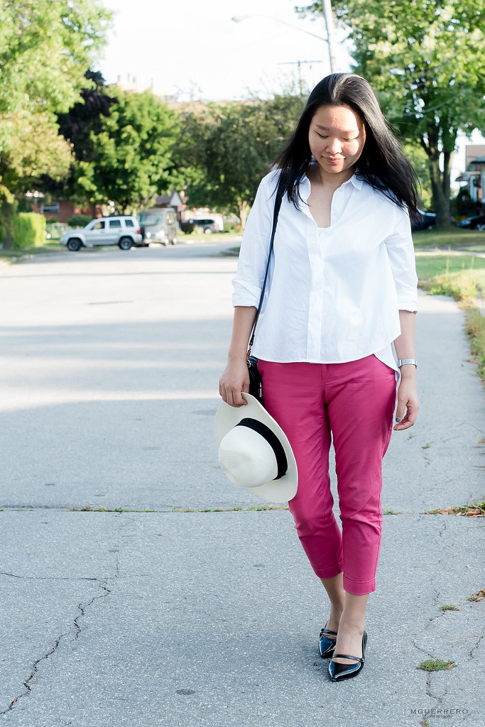 White button down and salmon pants 06