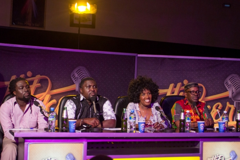 The judges and guest judge Kwame B