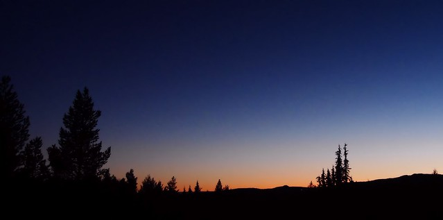 Valdres, Oppland, Norway - Blue hour in the mountains. October.
