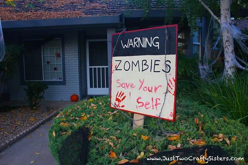 Halloween zombie sign.  Warning Zombies!