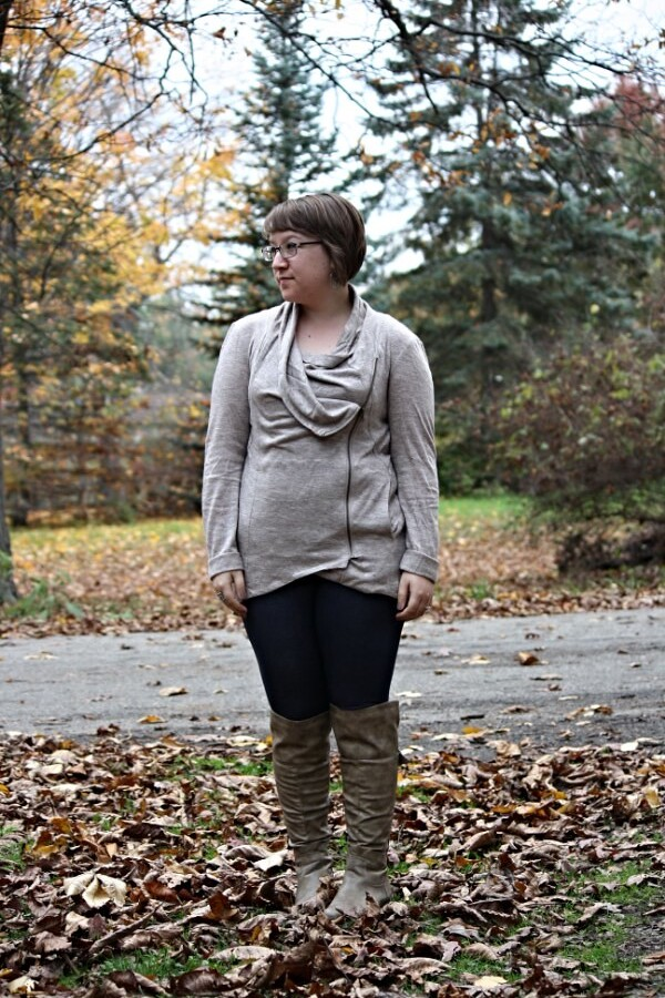 draped top, leggings, over the knee boots