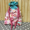 """Drawstring bag #2! This one is bigger. About 10"""" wide and 13"""" tall. Me likey! Fabric is Tula Pink. #notgoingtomarket #virtualquiltmarket #tulapink #tulatroops"""