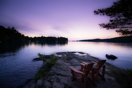 sunset lake beach chairs explore muskoka