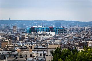 Vue sur le Centre Pompidou depuis le Parc de Belleville